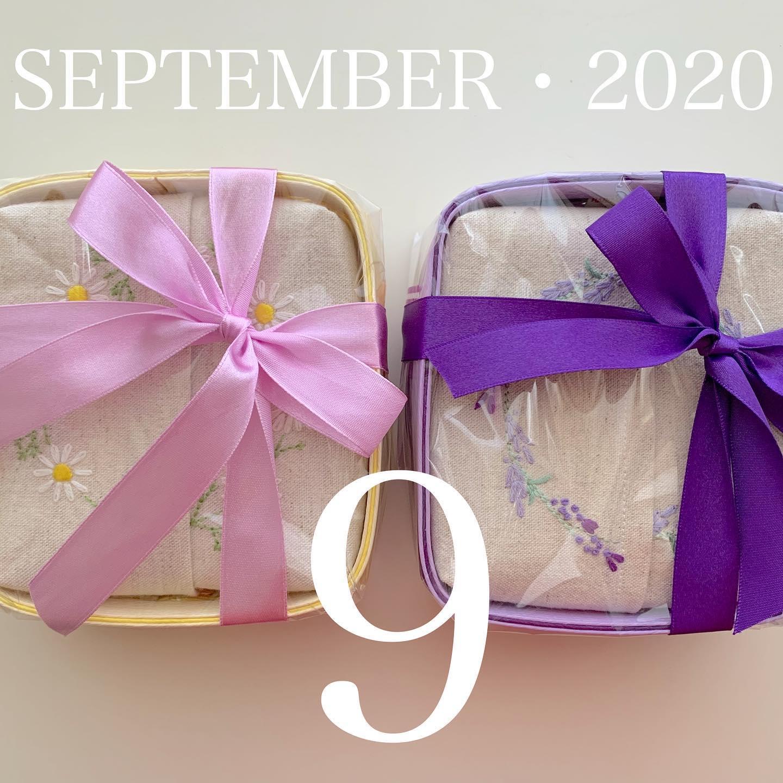 #SEPTEMBER・2020#2020年9月#令和2年9月#敬老の日#敬老の日プレゼント に#半分サイズティッシュ#カモミール刺繍#ラベンダー刺繍